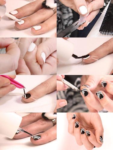 آموزش طرح راه سیاه و سفید روی ناخن