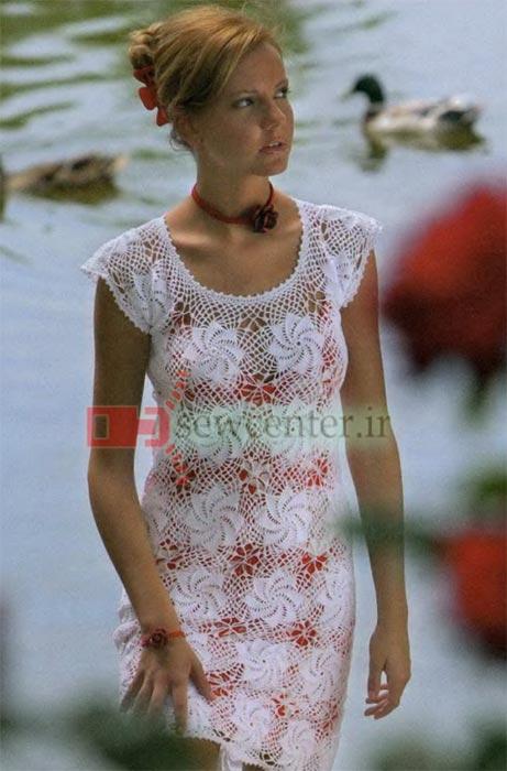 لباس بلند مجلسی قلاب بافی شده +الگو
