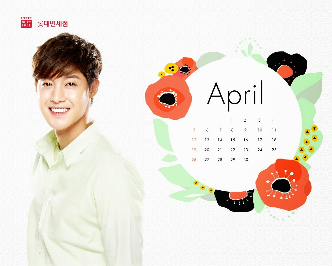 Kim Hyun Joong - Lotte Duty Free April 2015 Calendar Wallpaper
