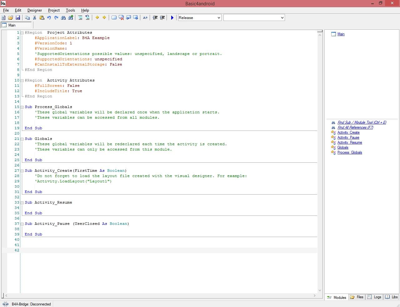 اموزش برنامه نویسی اندروید قسمت یک : درباره ی نرم افزار بیسیک4آندروید و آشنایی ساده با آن, Moltafet_b4a