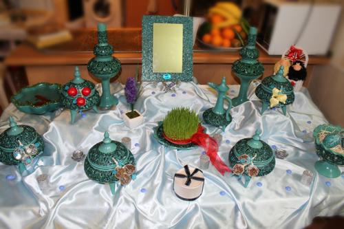 تزیین سفره هفت سین عروس سفال فیروزه ای و عیدی خاله فاطمه در نوروز 1394