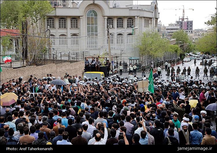 تجمع اعتراض مردم مقابل سفارت عربستان