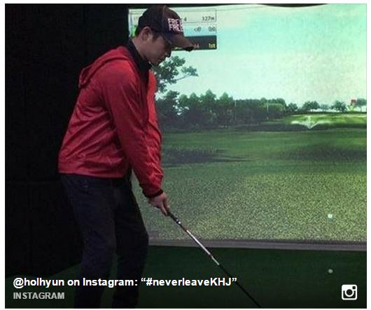 Our leader Hyun Joong Playing Virtual Golf