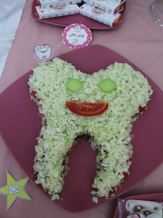تزئین سالاد با طرح دندون جشن دندانی happy first tooth