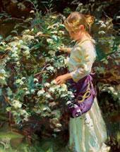 نقاشی دختر در باغ