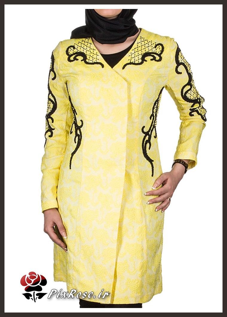 مدل مانتو برای رنگ عسلی مانتو کارشده زیبا