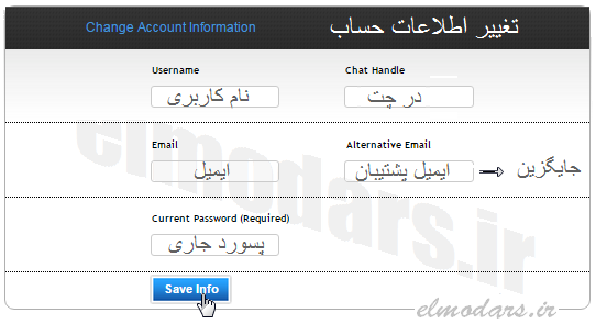پنل اطلاعات حساب و درج ایمیل بازیابی در سرور اسکریپت
