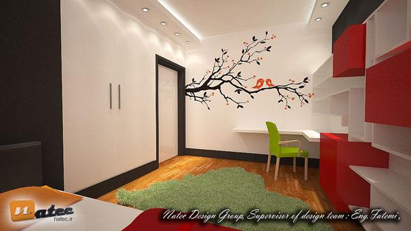نمونه کار طراحی اتاق خواب و کار نوجوان از گروه طراحی ناتک