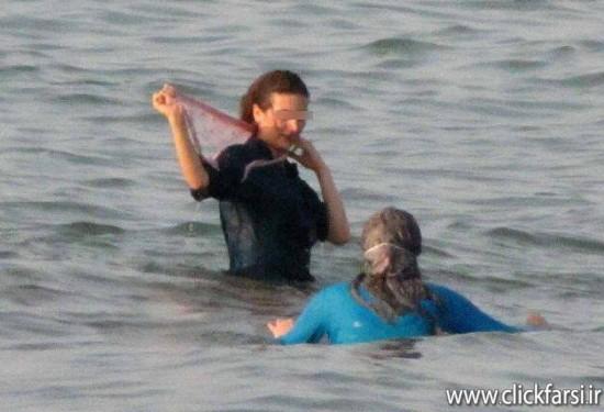 عکس های بد حجابی و شنای مختلط  دختر و پسر در دریای مازندران