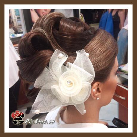 مدل شینیون بسته عروس با تور