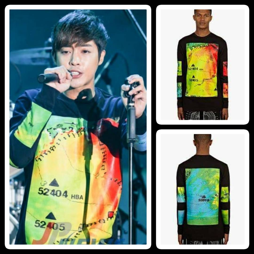 Sponsor - Men Rainbow Weather Long-Sleeved T-Shirt - Colourful Weather Map Prints on Front, Back and Both Arms