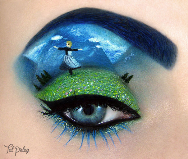 نقاشی های دیدنی یک دختر بر روی چشمانش