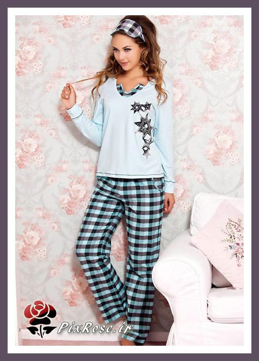 مدل لباس خواب دخترانه,لباس خواب دخترانه,مدل لباس خواب,لباس راحتی زنانه,بلوز و شلوار راحتی,بلوز و شلوار خواب