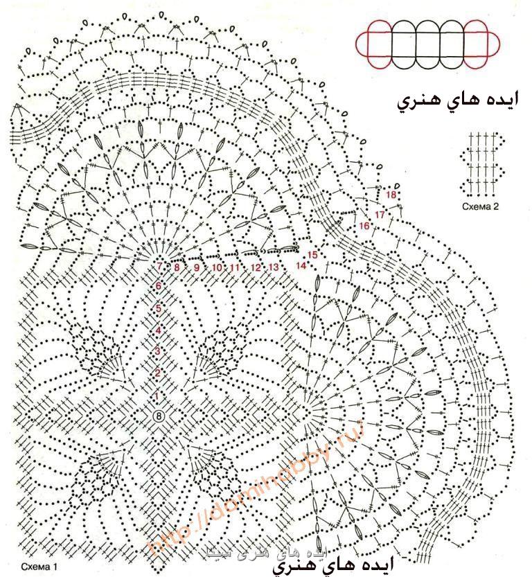 شال گردن قلاب بافی با نقشه