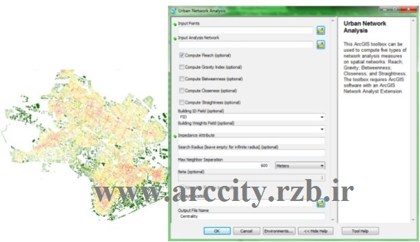 دانلود تولباکس شهری Urban Network Analysis Toolbox برای GIS