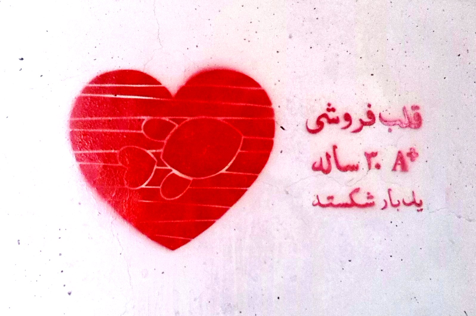 من مات من العشق فقد مات شهید - خیالباف - استنسیل - گرافیتی - قلب فروشی - A+ -  سی ساله - یکبار شکسته - ماهی