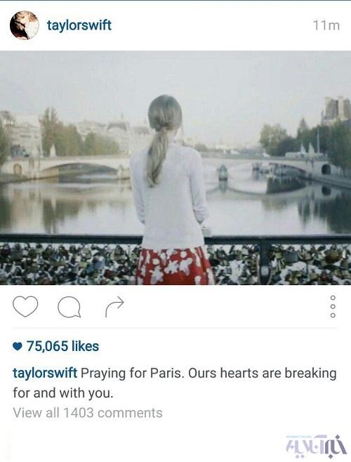 عکسی که تیلور سوئیفت پس از حوادث پاریس منتشر کرد , چهره های معروف