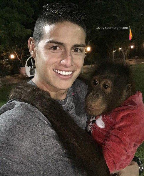 عکس سلفی خامس رودریگز با یک میمون ! , اخبار ورزشی