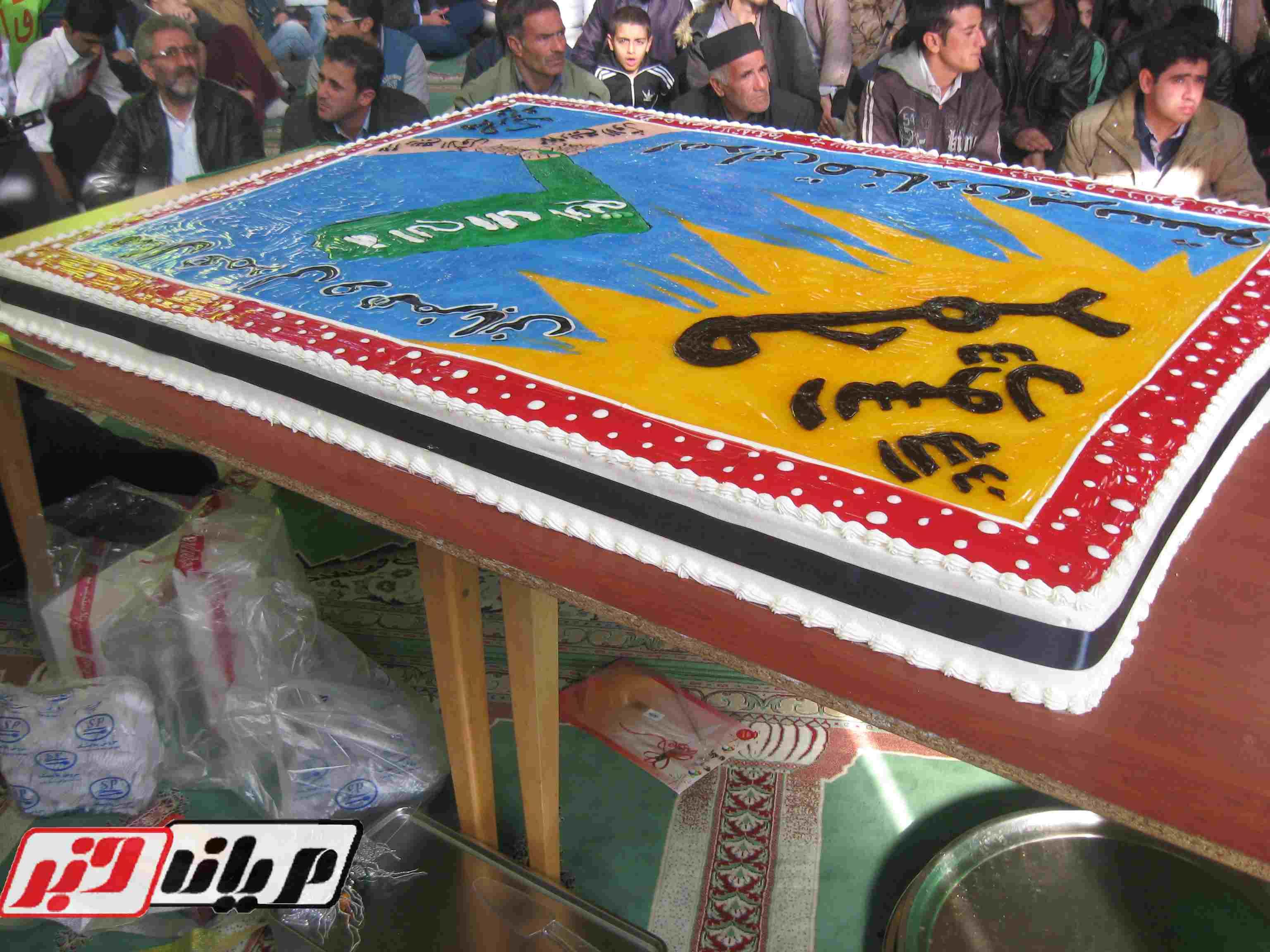 ع کیک برا پایان خدمت پخت کیک 80 کیلویی در مسجد جامع تالش