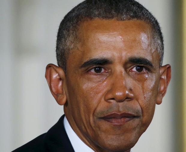 اوباما هم اشک می ریزد+ تصاویر