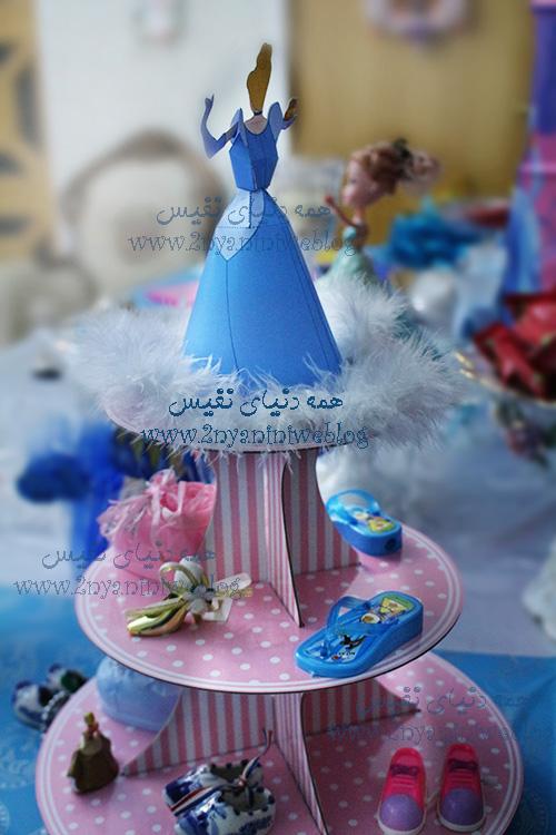 blue cinderella theme party happy footprint birthday helma 17month's ماکت سه بعدی گیفت مقوایی سیندرلا جشن قدم جشن تاتی حلما 17ماهگی اولین قدم مبارک تم تولد سیندرلا لباس آبی