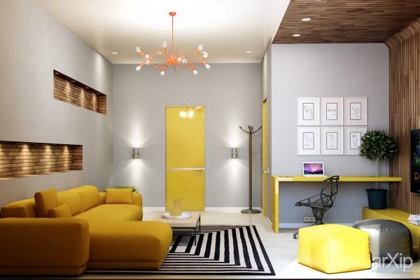 رنگ زرد در اتاق نشیمن