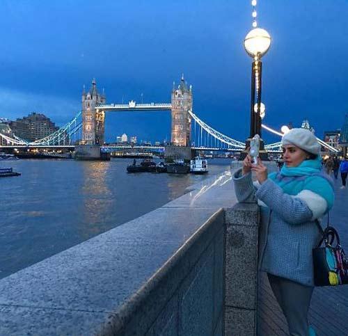 تیپ الناز شاکردوست در هوای زمستانی شهر لندن , عکس بازیگران