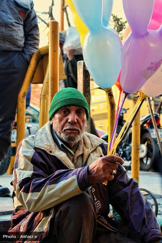پیرمرد بادکنک فروش - بازار زرگرها - شیراز