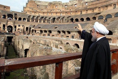 دیدار روحانی از میدان نبرد گلادیاتورها در ایتالیا + عکس , اجتماعی