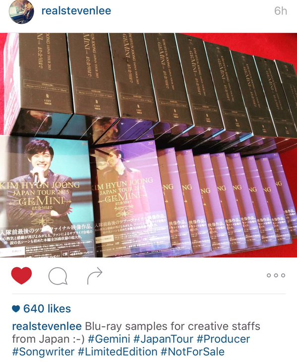 [StevenLee IG post] blue-ray copies of HJ Gemini JP Concert Tour [2016.01.14]