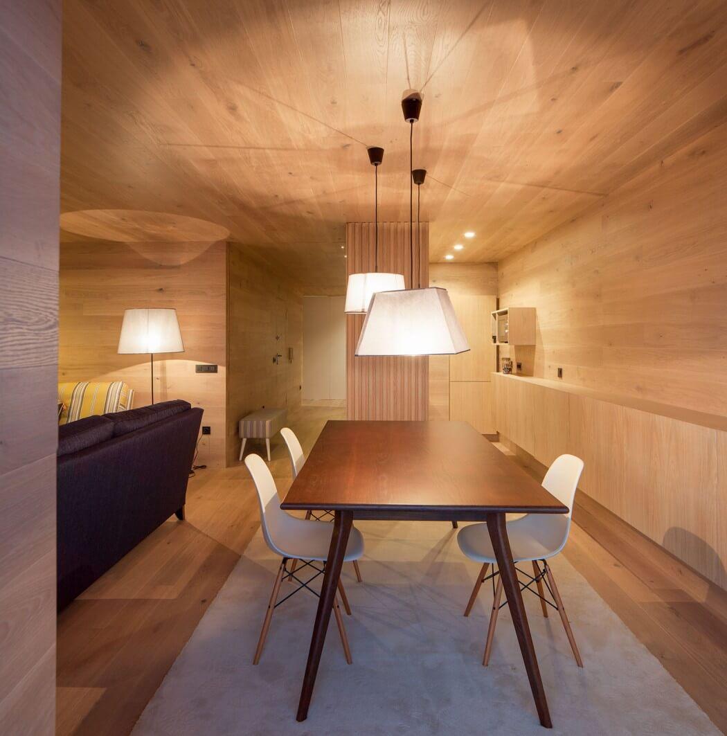 طراحی دکوراسیون آپارتمان چوبی