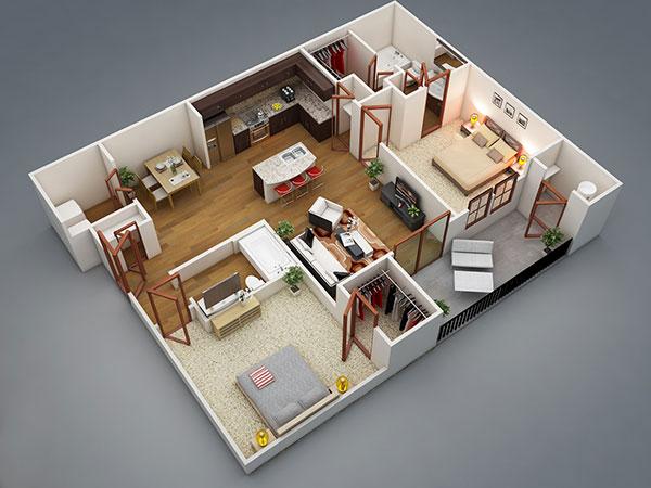 پلان و طراحی دکوراسیون داخلی خانه های دو خوابه