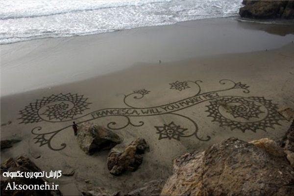 عکسهای دیدنی از طراحی های هنرمندانه روی شن های ساحل