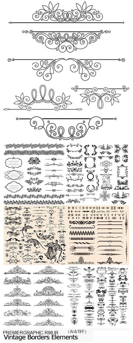 دانلودتصاویرگل تزیئنی-Vectors Vintage Borders Elements