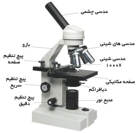 image result for اجزای میکروسکوپ