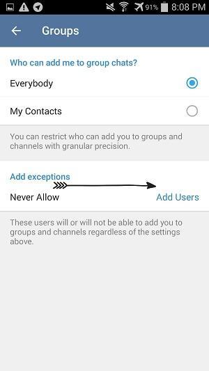 disable invite group telegram android, آموزش تلگرام, ترفند تلگرام, جلوگیری از اد کردن در گروه تلگرام, جلوگیری از دعوت به گروه تلگرام, غیر فعال کردن اد گروه در تلگرام, غیر فعال کردن دعوت به گروه تلگرام, غیر فعال کردن دعوت به گروه در تلگرام