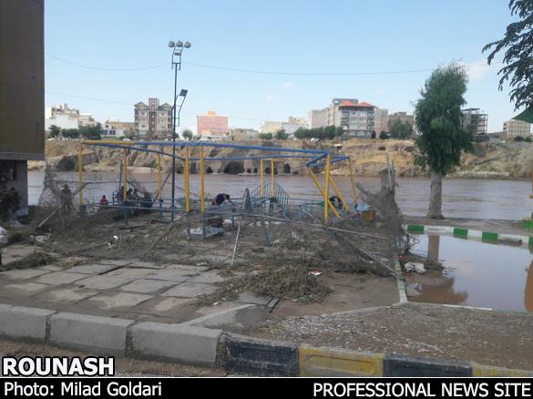 وضعیت امروز رود دز و ساحلی دزفول به روایت تصویر/ شهردار در گفتوگو با روناش: در حال برآورد خسارت هستیم