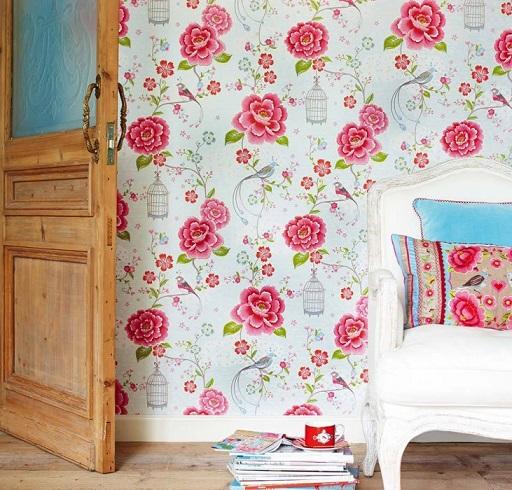 کاغذ دیواری گلدار و پرنده
