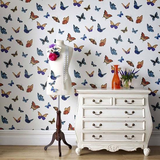 کاغذ دیواری پروانه- طرح کاغذدیواری پروانه ای