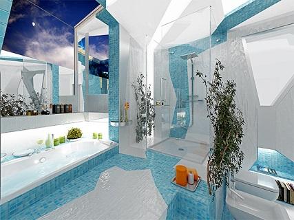 طراحی داخلی حمام به سبک دکوراسیون کوبیسم