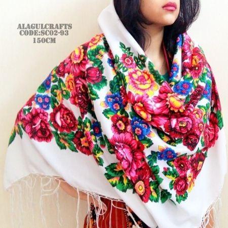 روسری ترکمن سفید