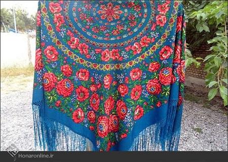 روسری ترکمن آبی