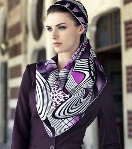 روسری مجلسی بنفش