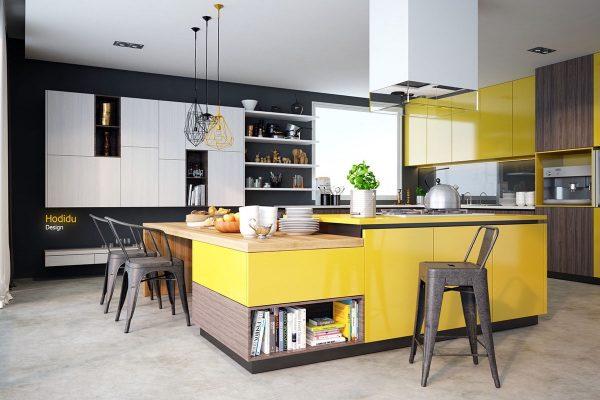 کابینت زرد لیمویی و خاکستری