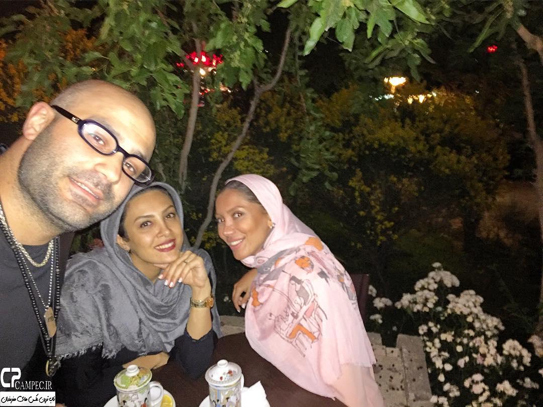 عکس حدیثه تهرانی با همسرش و تیما پور رحمانی