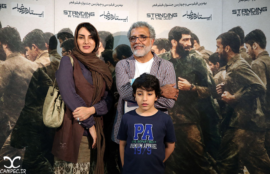 بهروز افخمی و مرجان شیر محمدی در اکران فیلم ایستاده در غبار