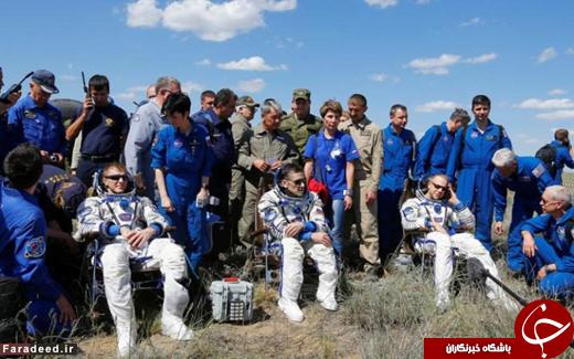 لحظه فرود 3 فضانورد به زمین + تصاویر , اخبار گوناگون