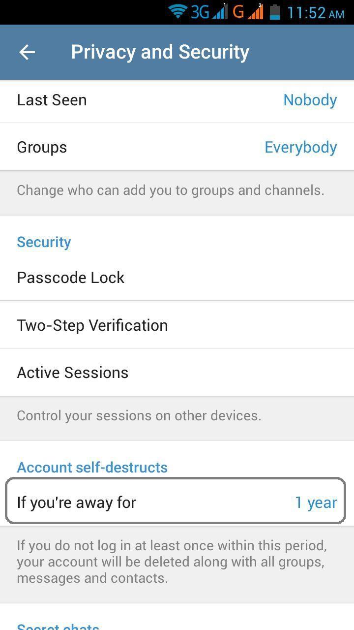 حذف خودکار حساب کاربری تلگرام