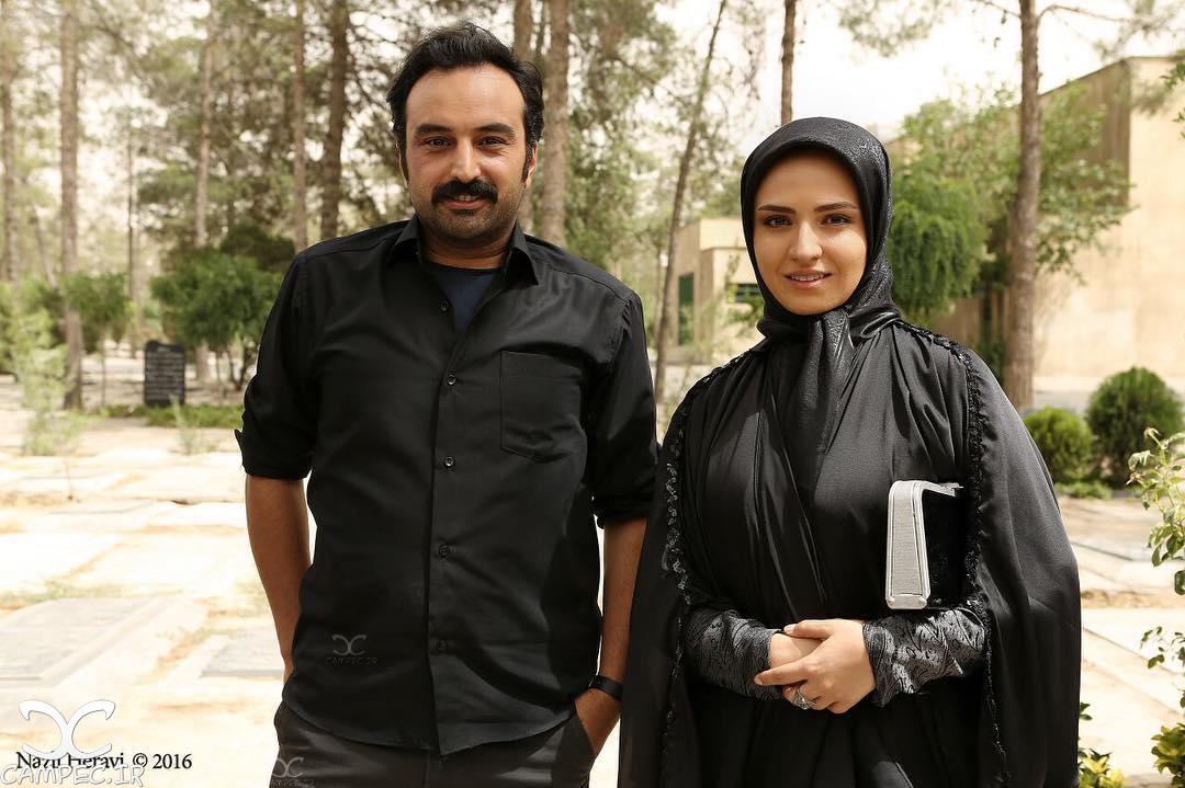 گلاره عباسی و کاوه خداشناس در پشت صحنه سریال برادر