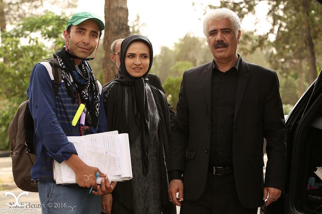 گلاره عباسی و کاظم بلوچی در پشت صحنه سریال برادر